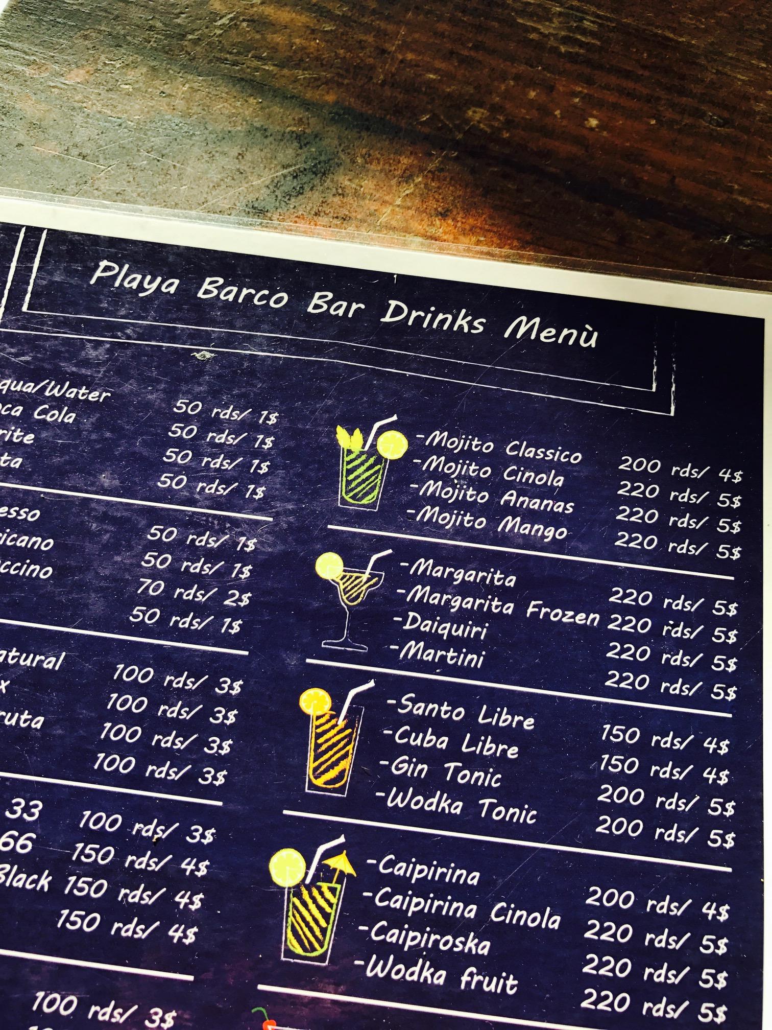Getränkekarte der Playa Barco Bar