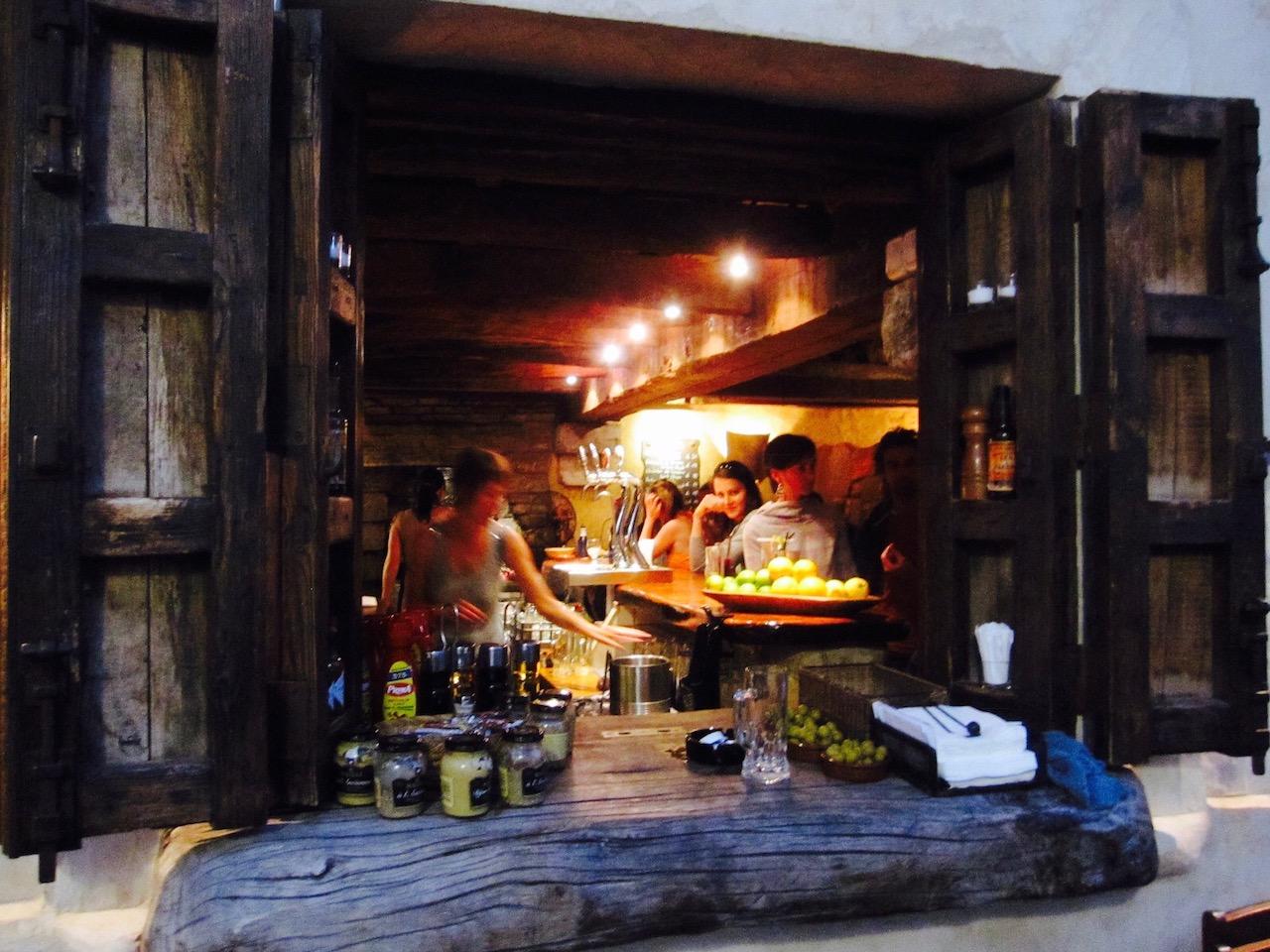 Blick aufs La Vaca Loca Restaurant, Tarifa, Andalusien