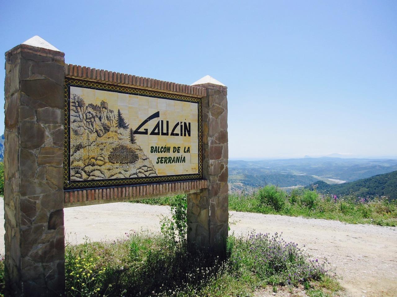 Ortseingangsschild Gaucín, Andalusien