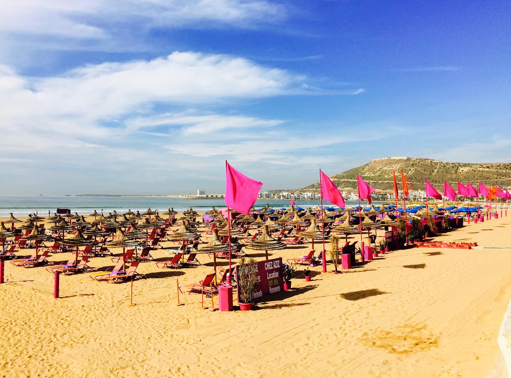 Blick auf den Strand von Agadir, Marokko