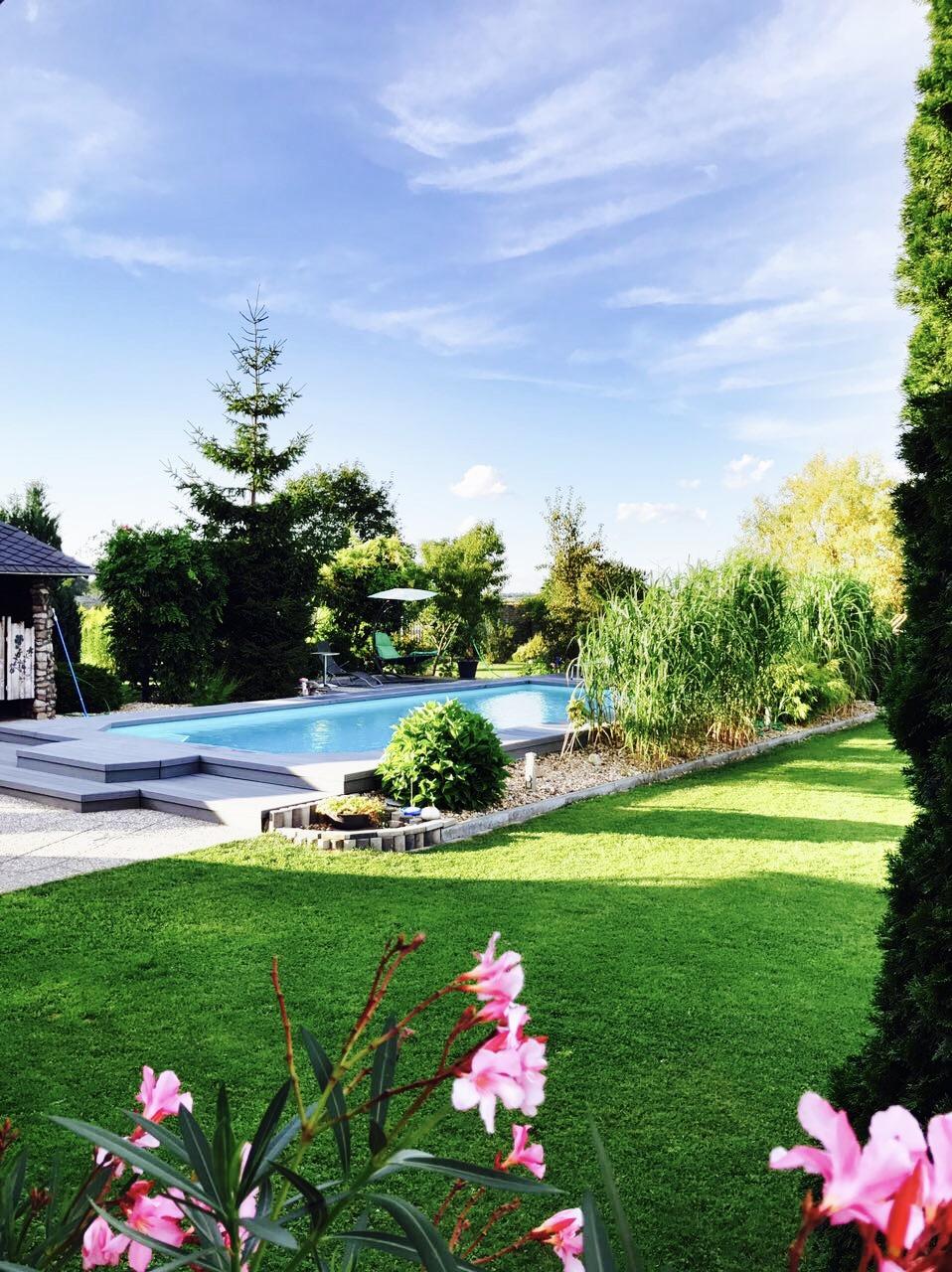 Blick auf den Pool beim Gasthaus Ela in Dahlewitz