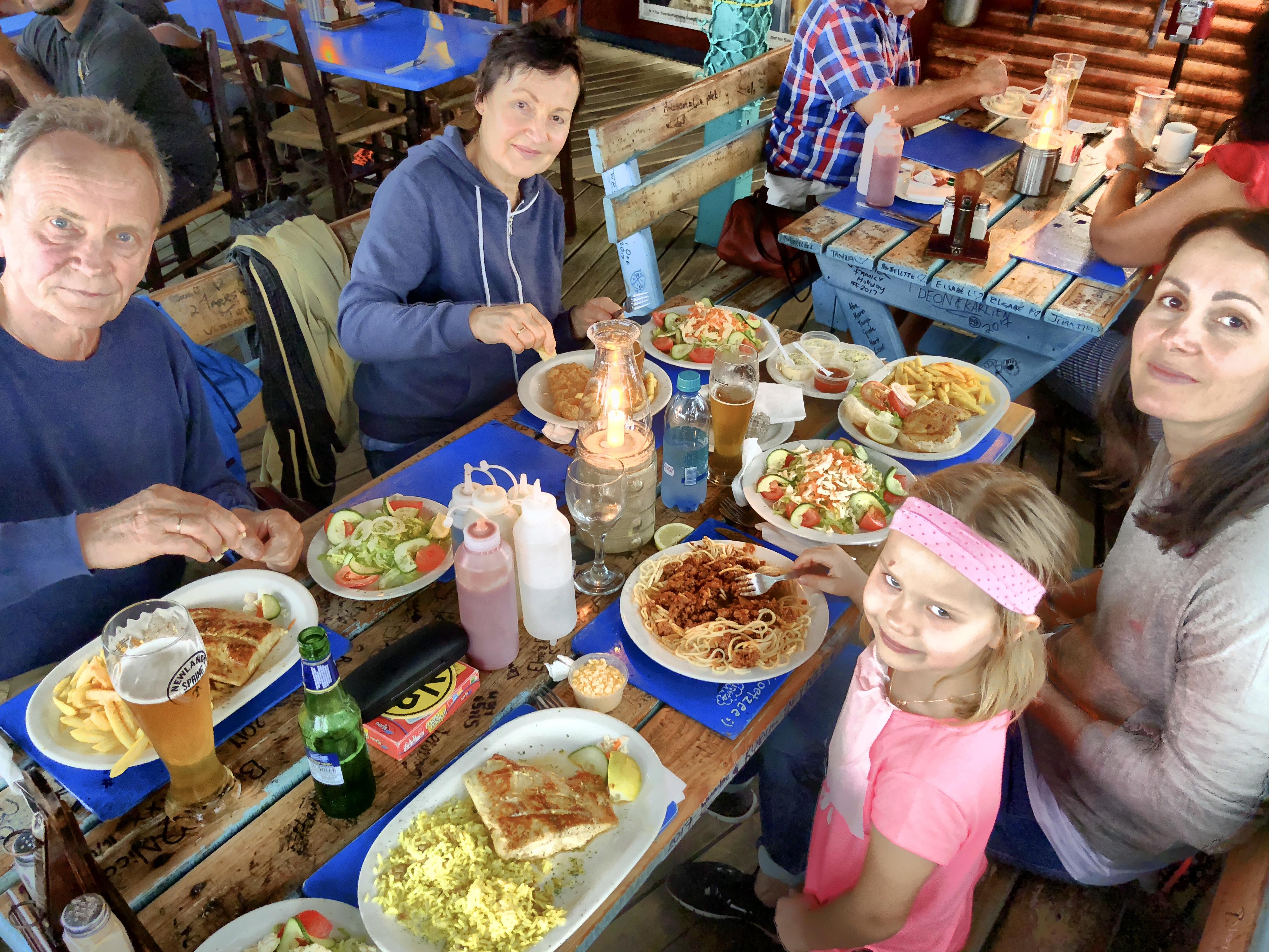 Essen im The Gypsy Sea Café, Mossel Bay, Südafrika
