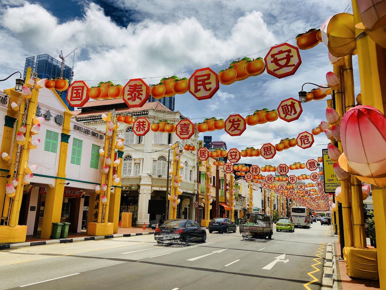 Straße in Chinatown, Singapur