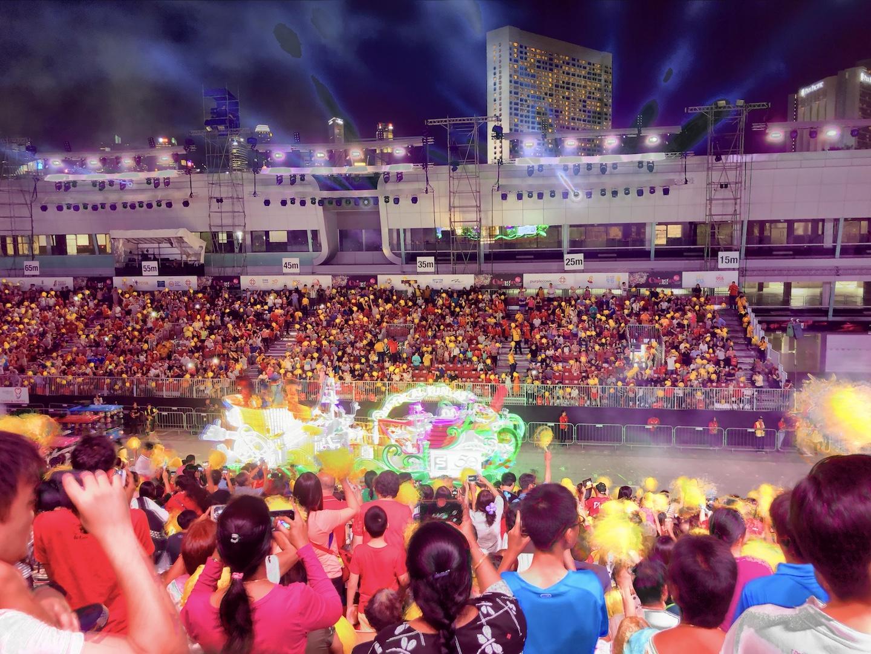 Blick auf die Chingay Parade, Singapur
