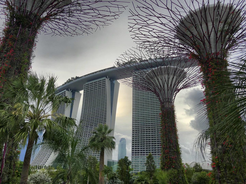 Blick auf das Marina Bay Sands, Singapur