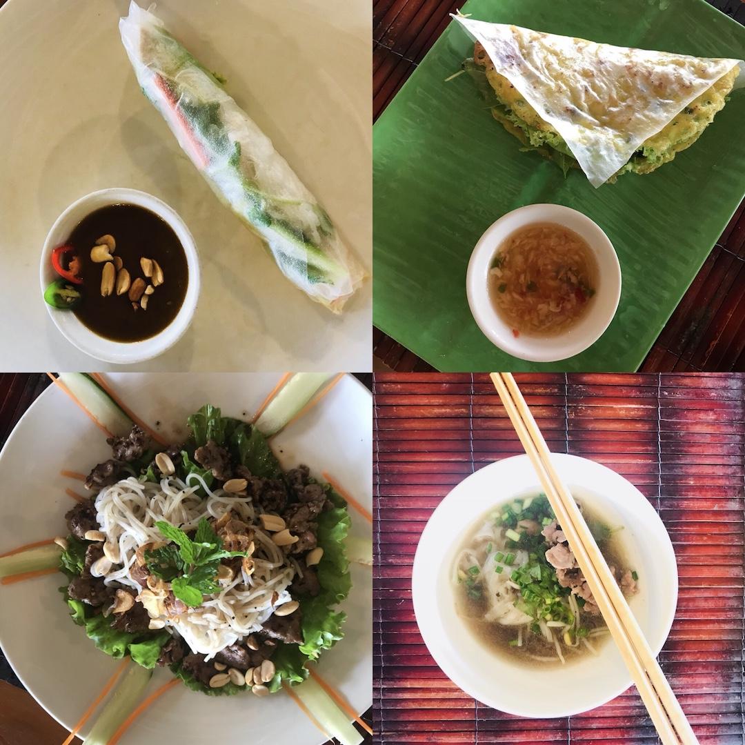 Menü, Cooking Class, Hoi An, Vietnam, Frühlingsrolle mit Erdnusssoße, Reise-Pancake, Beef Noodle Salad, Pho Suppe mit Beef