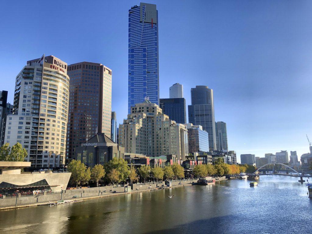 Blick auf Southbank am Yarra River, Melbourne, Australien