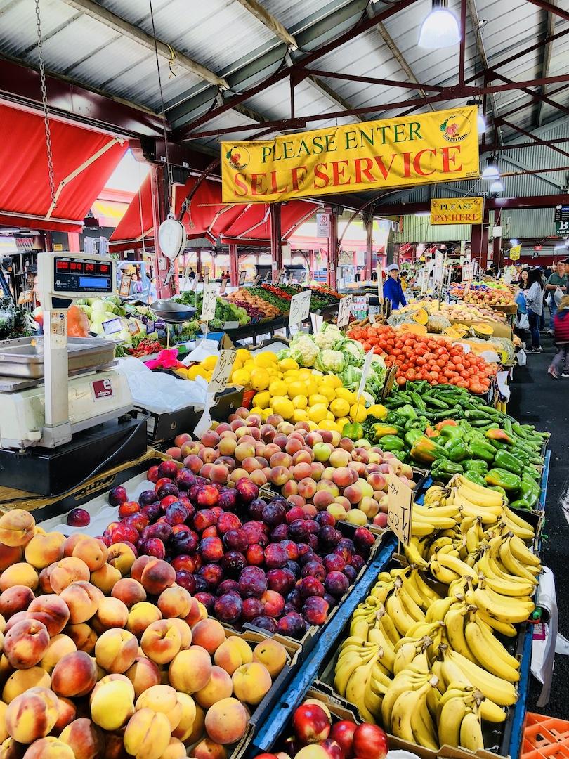 Gemüsestand im Queen Viktoria Market, Melbourne, Australien