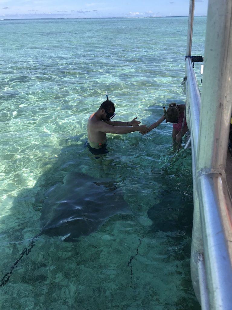 Schwimmen mit Stachelrochen, Bora Bora, Südsee Urlaub