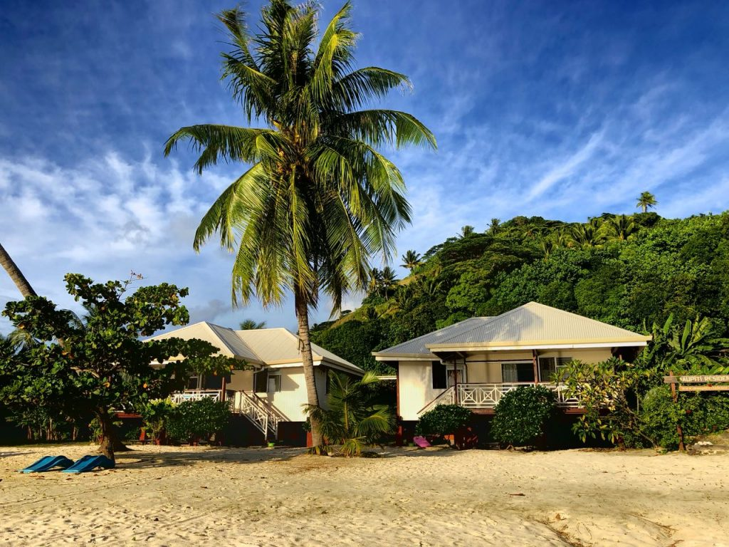 Die Bungalows der Maupiti Residence, Maupiti, Französisch Polynesien, Südsee Urlaub