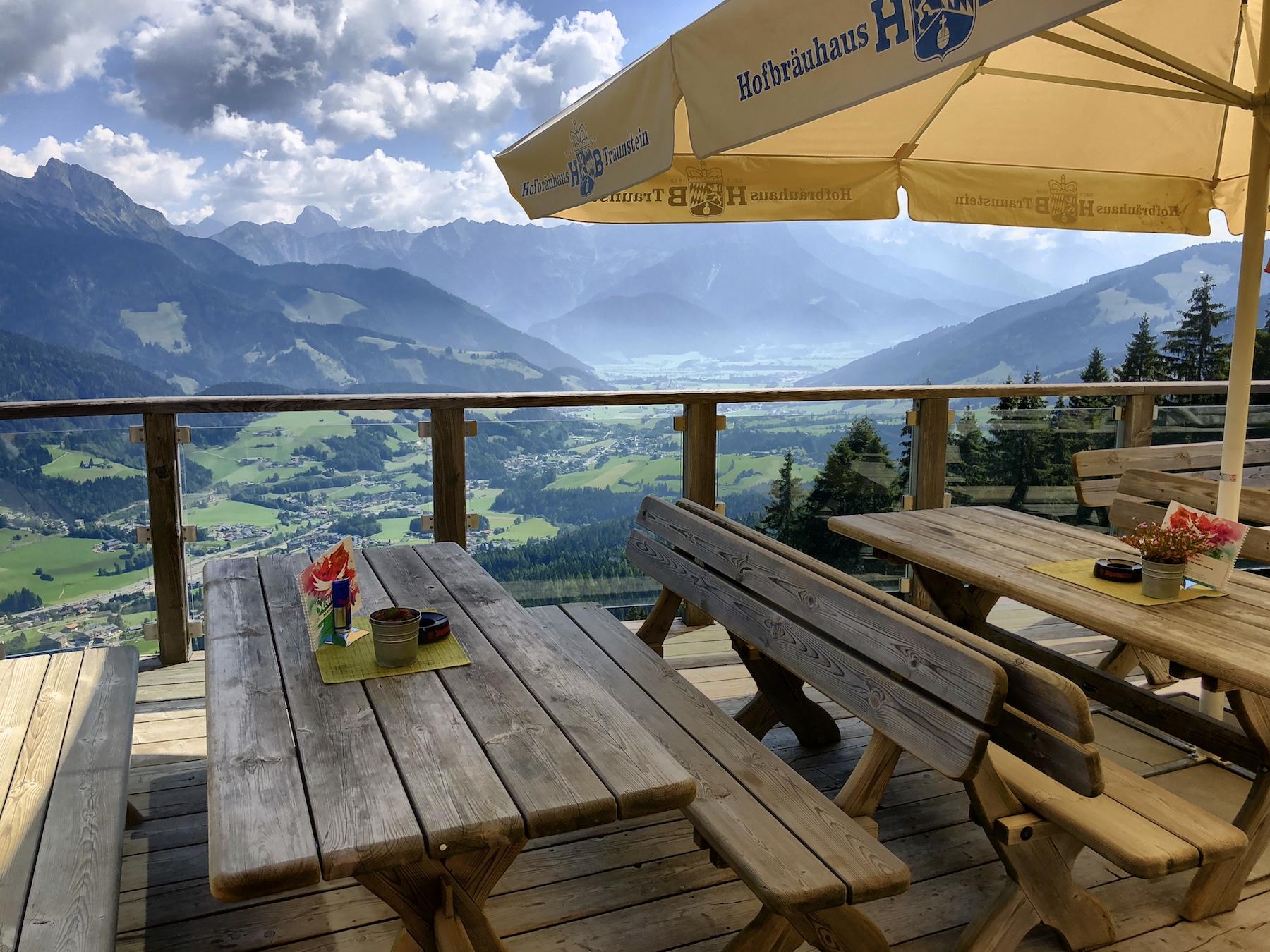 Ausblick von der Stöcklalm, Leogang, Österreich