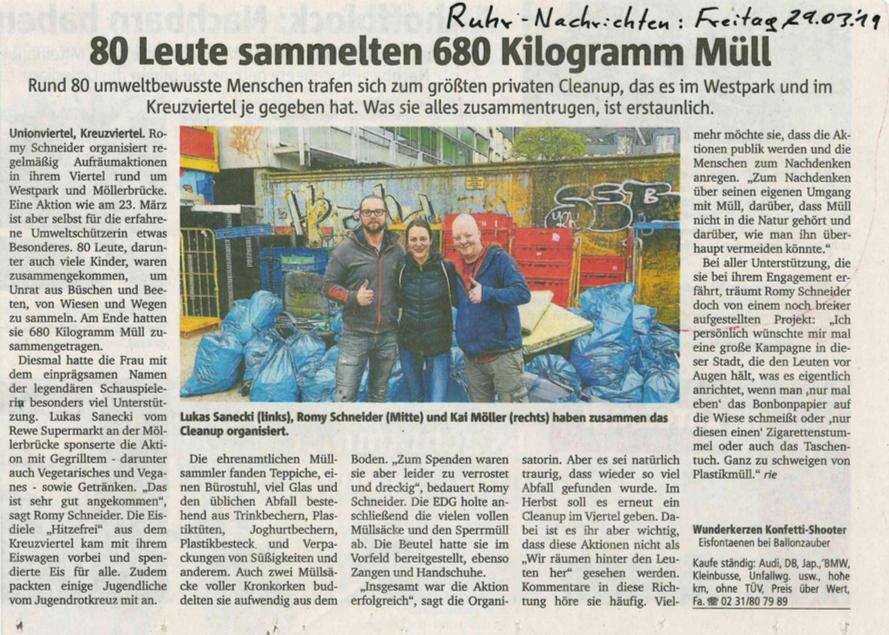 Ruhrnachrichten Bericht über unsere Müllsammelaktion